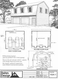 colonial gambrel garage plans with loft 1524 1 by behm design