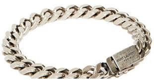 bracelet silver chain images Lyst saint laurent silver chain bracelet in metallic for men jpeg