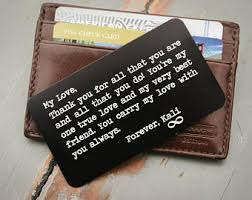 anniversary gifts for him personalized wallet insert engraved wallet card of