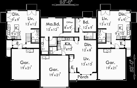 2 story floor plans with garage triplex house plans triplex house plans with garage d 437