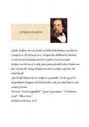 very short biography charles dickens english worksheets dickens biography