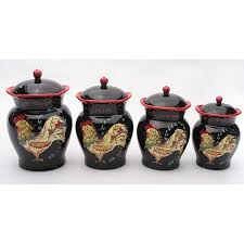rooster kitchen canister sets kitchen accessories rooster black ceramic decorative kitchen