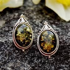 post style earrings green vintage style sterling silver post earrings certified