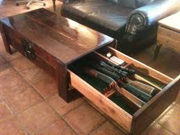large cedar coffee table with hidden drawer for firearms or just