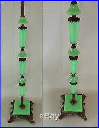 Iron Floor L Antique Deco Jadeite Houze Slag Glass Cast Iron Floor L