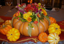 the thanksgiving centerpiece in a tale pumpkin