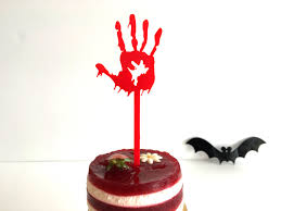 bloody cake toppers witch silhouette spooky