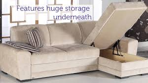 sectional pull out sleeper sofa cross sectional pull out sleeper in cream youtube