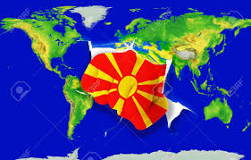 Flag Of Macedonia Fist In Color National Flag Of Macedonia Punching World Map As