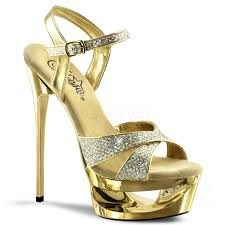 clearance pleaser eclipse 619g rhinestone and gold ankle strap