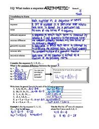 arithmetic sequences guided notes by math with mrs holst tpt