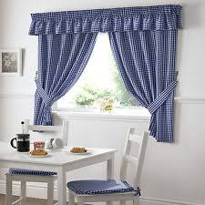 Tie Back Kitchen Curtains by Country Checked Ready Made Curtains Ebay