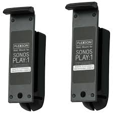 flexson sonos play 1 wall mount black pair speaker stands