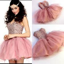dusty pink short homecoming dresses sweetheart crystal tulle