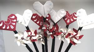 Valentine Home Decorations Valentine Decoration Sticks 3d Set Origami Heart Bouquet With