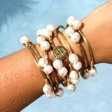 monogram charm pretty in pearls monogram charm wire wrapped bangle bracelet i