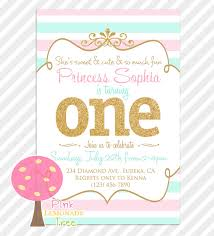 pink aqua gold first birthday party invitation gold glitter