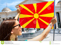 Macedonian Flag Woman With Macedonian Flag In Skopje City Center Stock Image