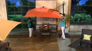 Patio Umbrella With Solar Lights by Atleisure Multi Tilt 8 5 U0027 Solar Offset Patio Umbrella On Qvc Youtube