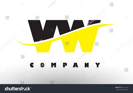 volkswagen logo black and white vw v w black yellow letter stock vector 661721107 shutterstock