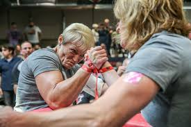 professional arm wrestlers bring elbow grease to woodstock the