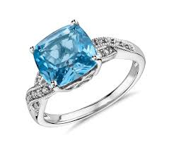 blue topaz engagement rings blue topaz cubic zirconia ring in 14k white gold plated