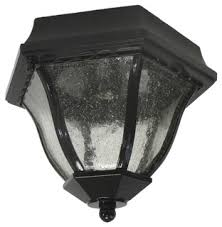 Outdoor Flush Mount Ceiling Lights Black And Seeded Glass Exterior Ceiling Light Traditional