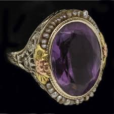 natural amethyst rings images Ring art deco antique amethyst natural seed pearl red white yellow jpg