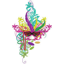 fancy mardi gras mardi gras mask with filled machine embroidery design