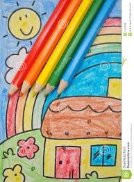 colorful kids u0027 drawing home rainbow sun sky royalty free stock