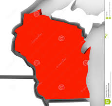Wisconsin State Map by Wisconsin Red Abstract 3d State Map United States America Stock