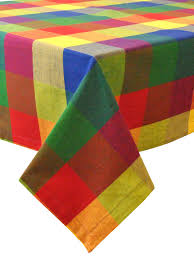 indian imports home decor palette check indian summer tablecloth by design imports at gilt