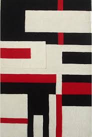 geometric hand tufted wool rug black white and red