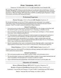 resume exles for therapist physical therapist resume sle