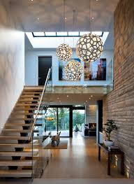 Pendant Light For Entryway Two Story Foyer Geometric Orb Pendant Lighting Wood Stairs