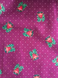 christmas craft fabric christmas bells on mulberry base with red