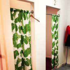 Fitting Room Curtains White Curtain For Fitting Room Door With Green Leaves Pattern