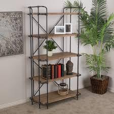 amazon com cobek 5 shelf industrial design brown solid wood