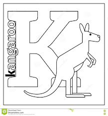 kangaroo letter k coloring page stock vector image 79434863