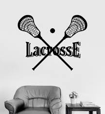 compare prices on sports stickers lacrosse online shopping buy vinyl wall decal lacrosse stick and ball player sports stickers china mainland