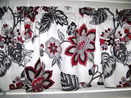red black gray white jacobean paisley print valance window