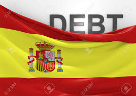 Flag Financial Spain National Debt And Budget Deficit Financial Crisis Stock