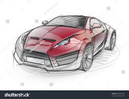 sports car drawing sketch drawing sports car nonbranded concept stock illustration