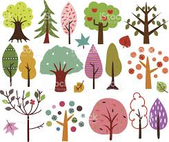sweet retro trees seamless background stock vector 164310130
