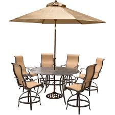 Outdoor Table Umbrella Hanover Manor 7 Piece Aluminum Round Outdoor Bar Height Dining Set