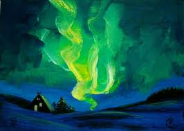 how to paint northern lights saatchi art northern lights aurora borealis painting by ria janta