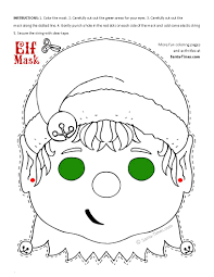 free printable coloring pages of elves christmas elf mask printable coloring page more fun activities and