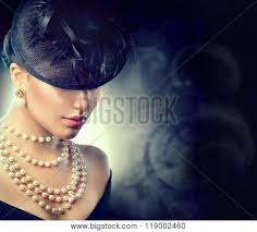 pearl necklace woman images Retro woman portrait vintage style girl wearing old fashioned hat jpg
