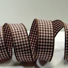 gingham ribbon 1 5 pink brown wired gingham ribbon with brown wired