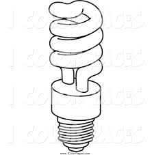 Vector Coloring Page Of A Black And White Fluorescent Spiral Light Light Coloring Page